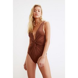 Trendyol Brown Ruffles Detailed Swimsuit
