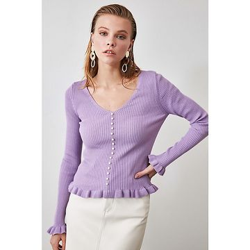 Trendyol Lila Pearl Detailed Knitwear Sweater