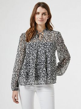 Dorothy Perkins White-Black Patterned Blouse