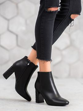 SHELOVET BOOTIES WITH DECORATIVE HEEL
