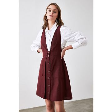 Trendyol Burgundy Button Detailed Jile Dress