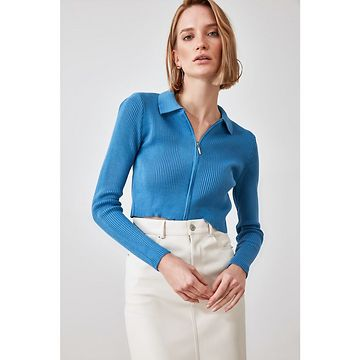 Trendyol Knitwear Cardigan with Blue Crop Zipper