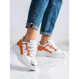 IDEAL SHOES SNEAKERS WITH ORANGE INSERT
