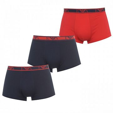 Emporio Armani 3 Pack Stretch Cotton Trunks Mens