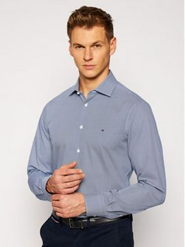 Tommy Hilfiger Tailored Košile Poplin Design TT0TT08270 Tmavomodrá Slim Fit