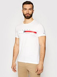 Tommy Hilfiger T-Shirt Global Stripe Chest Tee MW0MW16572 Bílá Regular Fit