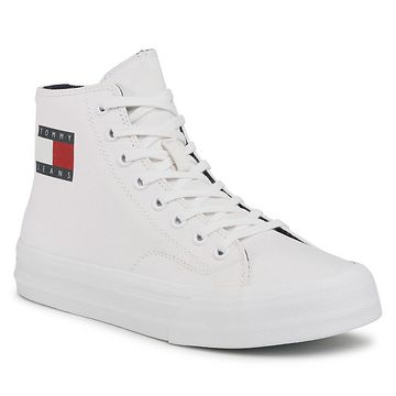 Sneakersy TOMMY JEANS - Midcut Lace Up Vulc EM0EM00485 White YBR