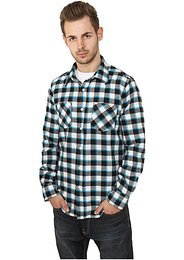 Urban Classics Tricolor Checked Light Flanell Shirt black/white/turquoise