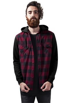 Urban Classics Hooded Checked Flanell Sweat Sleeve Shirt blk/burgundy/blk