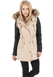 Urban Classics Ladies Leather Imitation Sleeve Parka sand/black