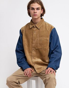Stüssy Cord Denim Mix Shirt Khaki L