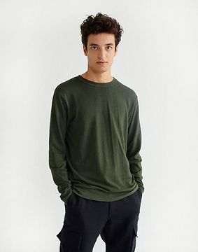 Thinking MU Green Hemp Shiva L/s T-shirt Dark Green S