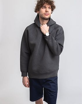 M.C.Overalls Bonded Jersey Pullover Hoody Charcoal M