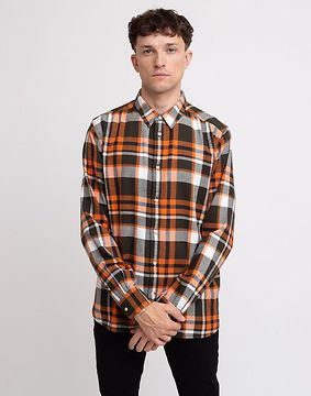Knowledge Cotton Larch Casual Fit Checked Flannel Shirt 1090 Forrest Night XL