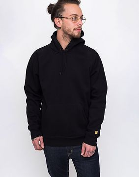 Carhartt WIP Hooded Chase Sweat Black / Gold L