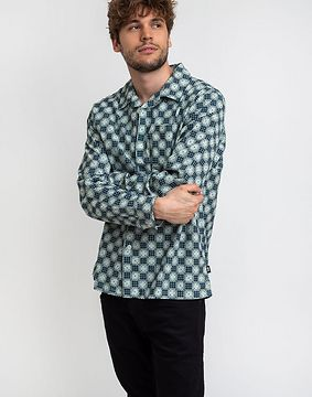 Stüssy Dice Checker Shirt Indigo L