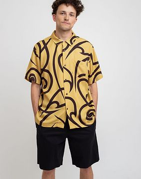 Stüssy Tribal Pattern Shirt Mustard XL