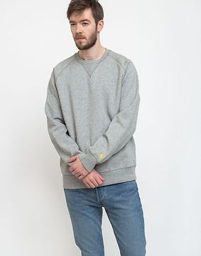 Carhartt WIP Chase Sweat Grey Heather/Gold L