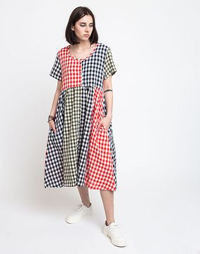 Lazy Oaf Mixed Gingham Check Dress Multi S
